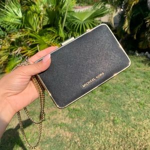 Michael Kors Elsie Box Clutch Small Bag with Chain